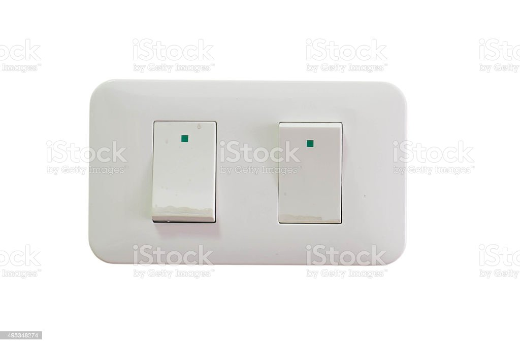 Electric light switch, isolated on white background stock photo