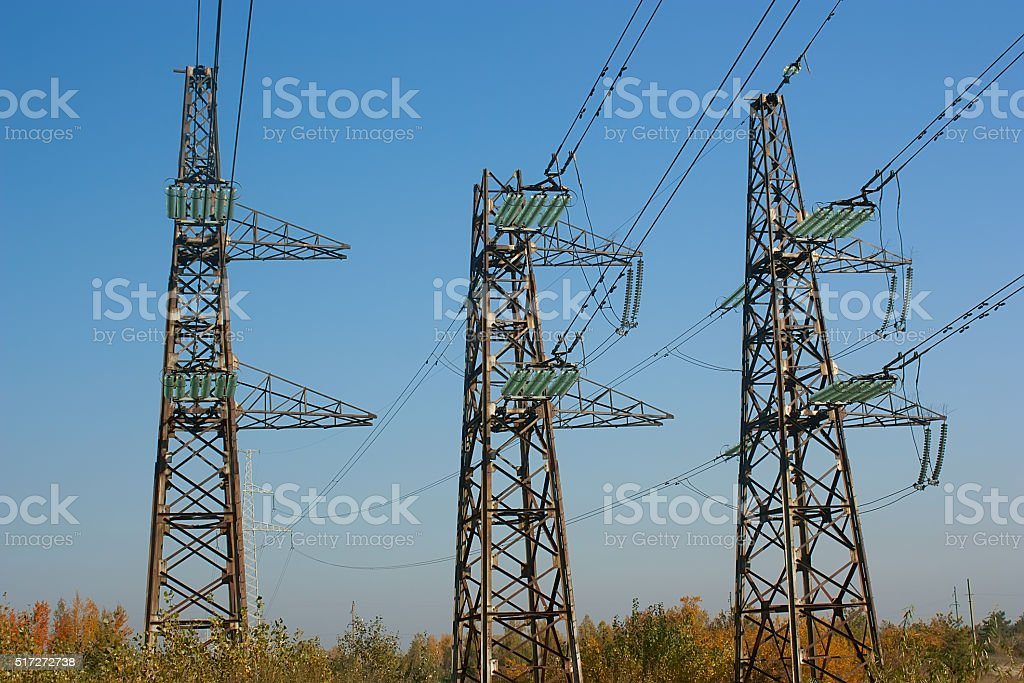 electric lines stock photo