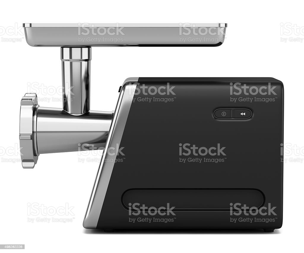 electric meat grinder isolated on white background stock photo