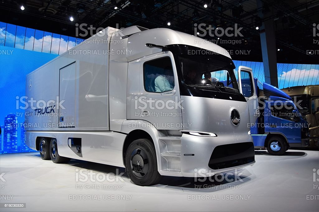 Electric Mercedes-Benz Urban eTruck on the motor show stock photo