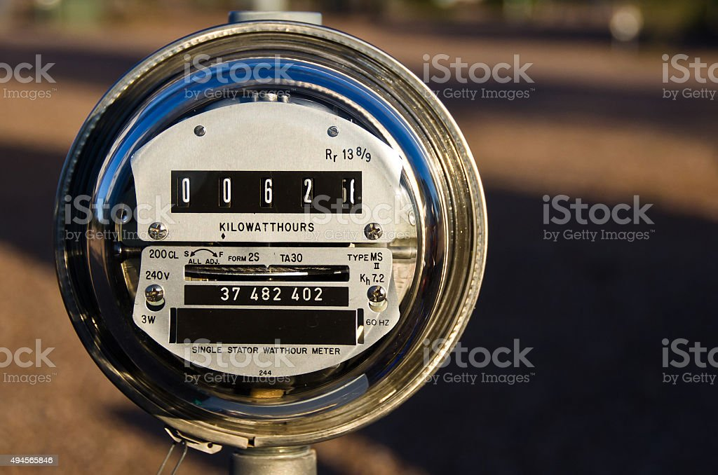 Electric Meter Displaying Current Power Consumption stock photo