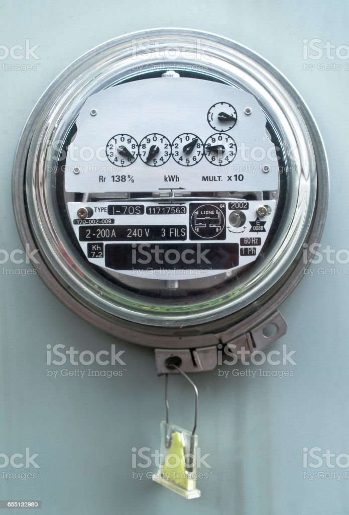 Electric meter front view stock photo