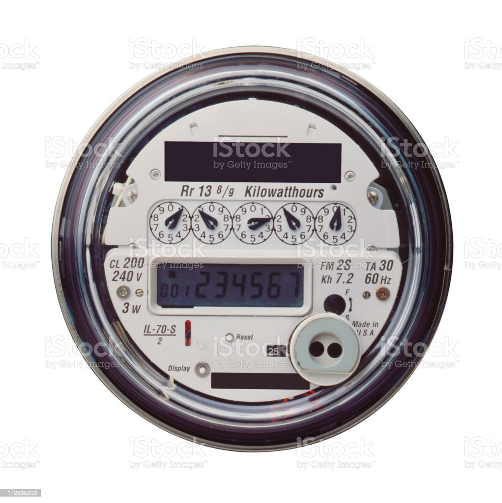 Electric meter on white background royalty-free stock photo
