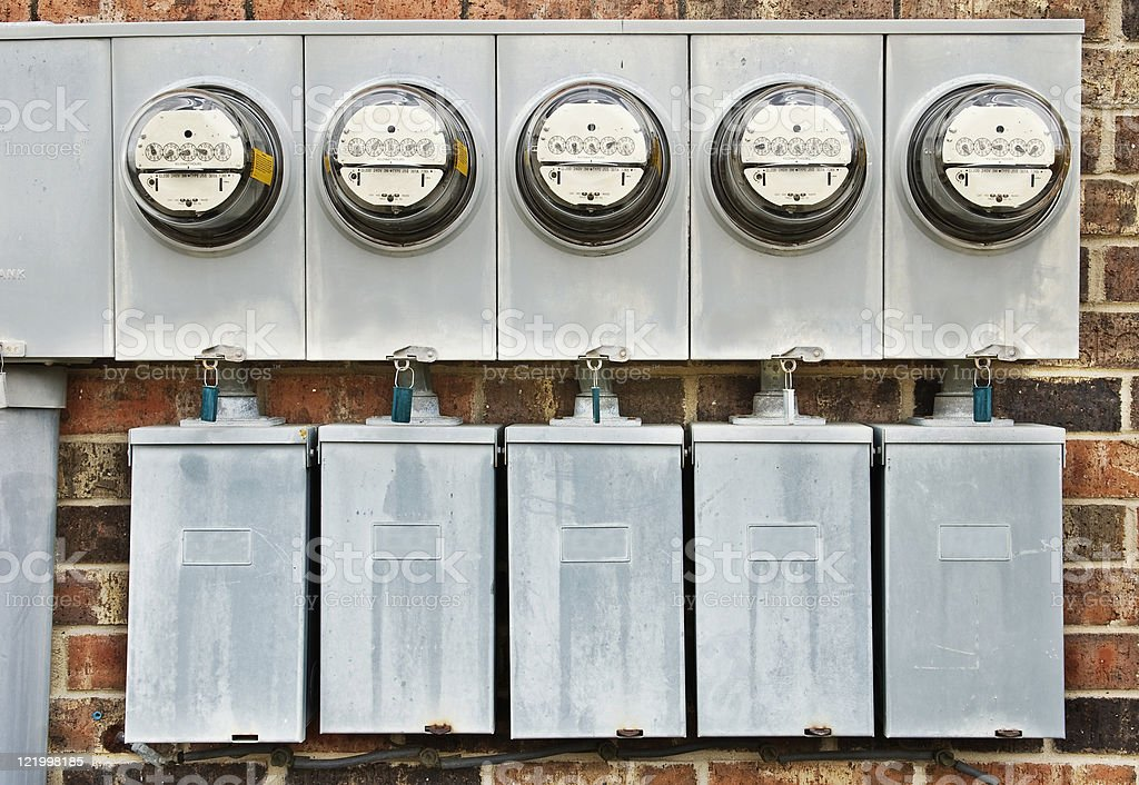 Electric Meters for Multi-Family Apartment Building 1 royalty-free stock photo