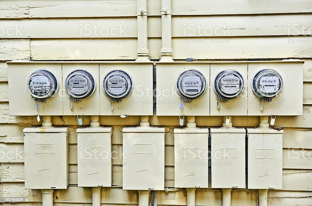 Electric Meters On Old House royalty-free stock photo