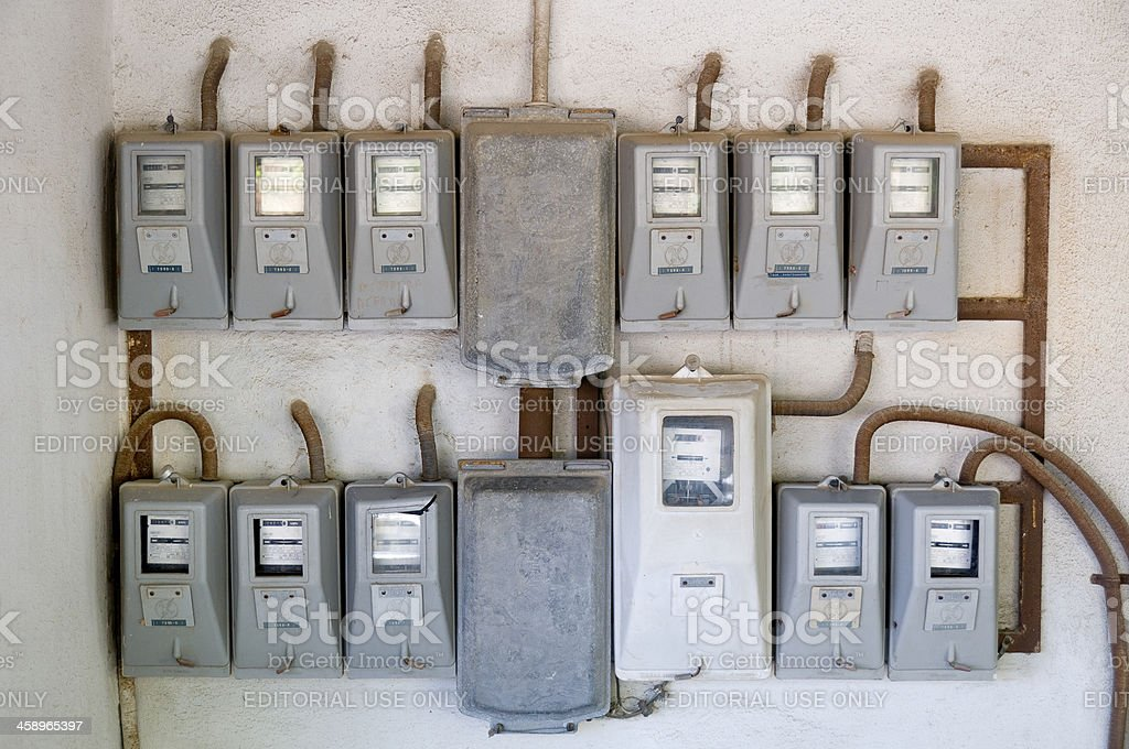 electric meters royalty-free stock photo