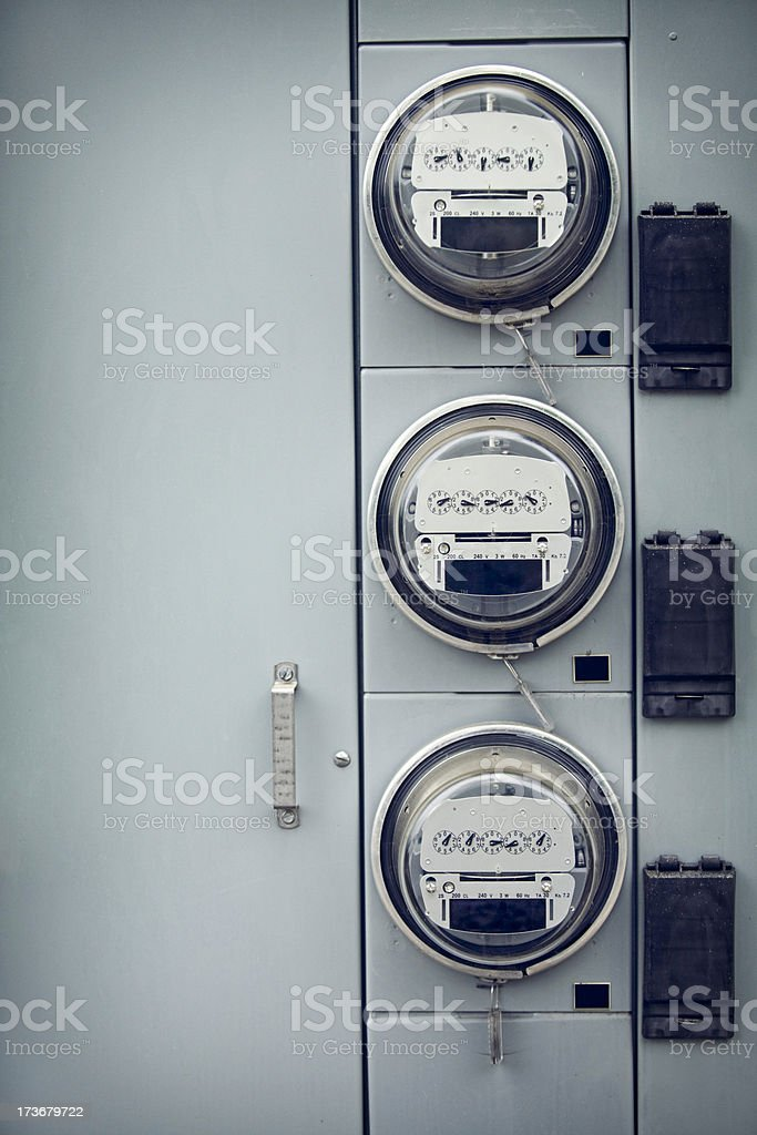 Electric Meters with Copy Space royalty-free stock photo