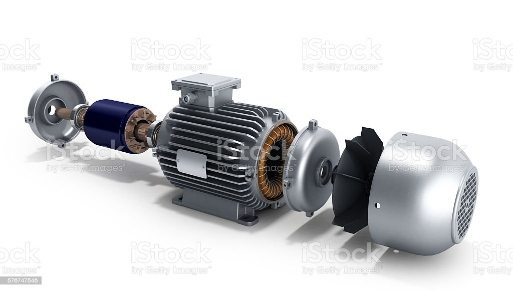 electric motor in disassembled state 3d illustration on a white stock photo