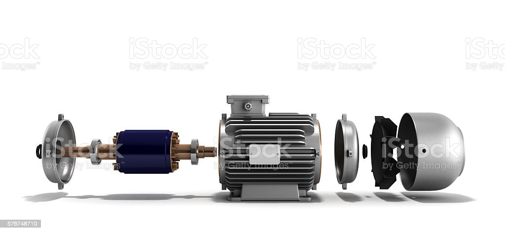 electric motor in disassembled state stock photo