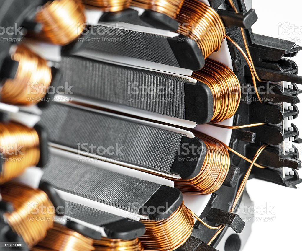 Electric motor stator winding and stack close-up royalty-free stock photo