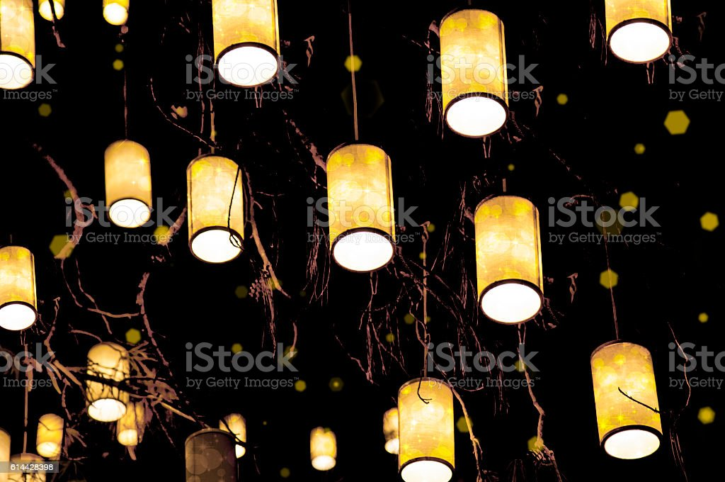 electric night lights party stock photo