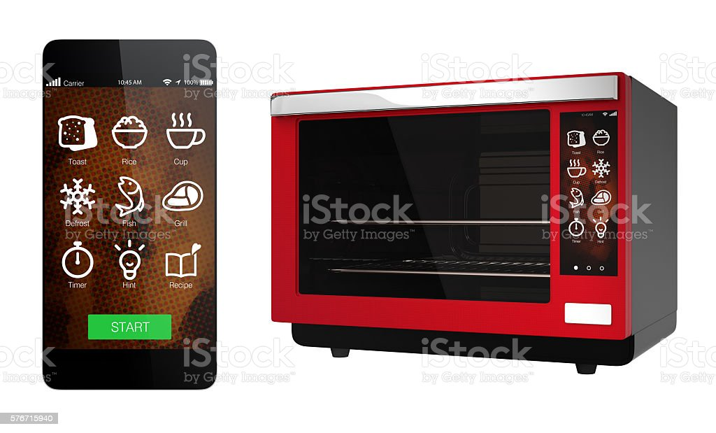 Electric oven and smart phone isolated on white background stock photo