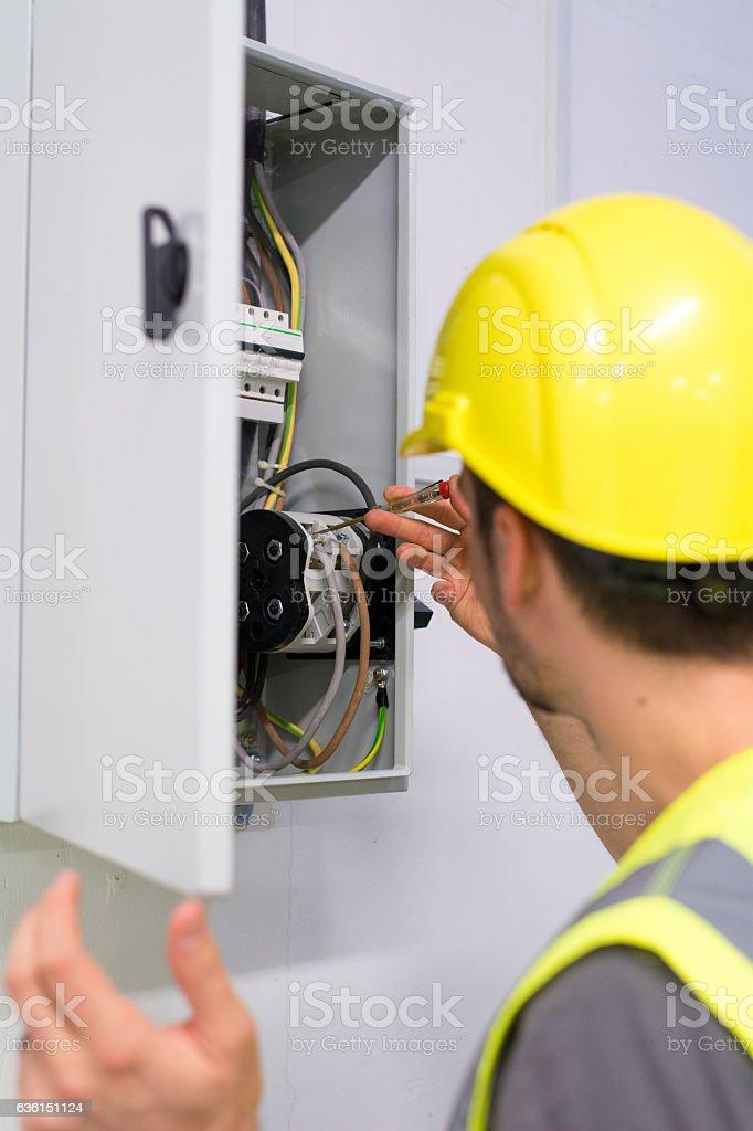 Electric panel repair stock photo