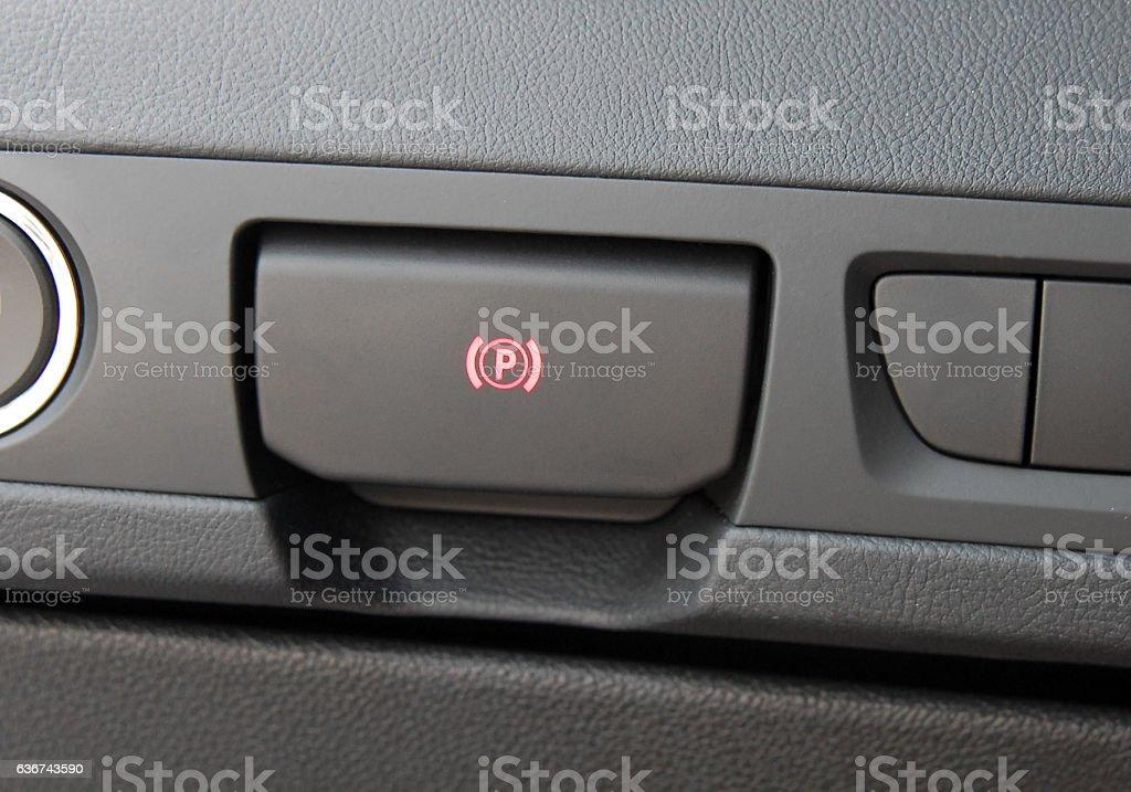 electric parkbrake button stock photo