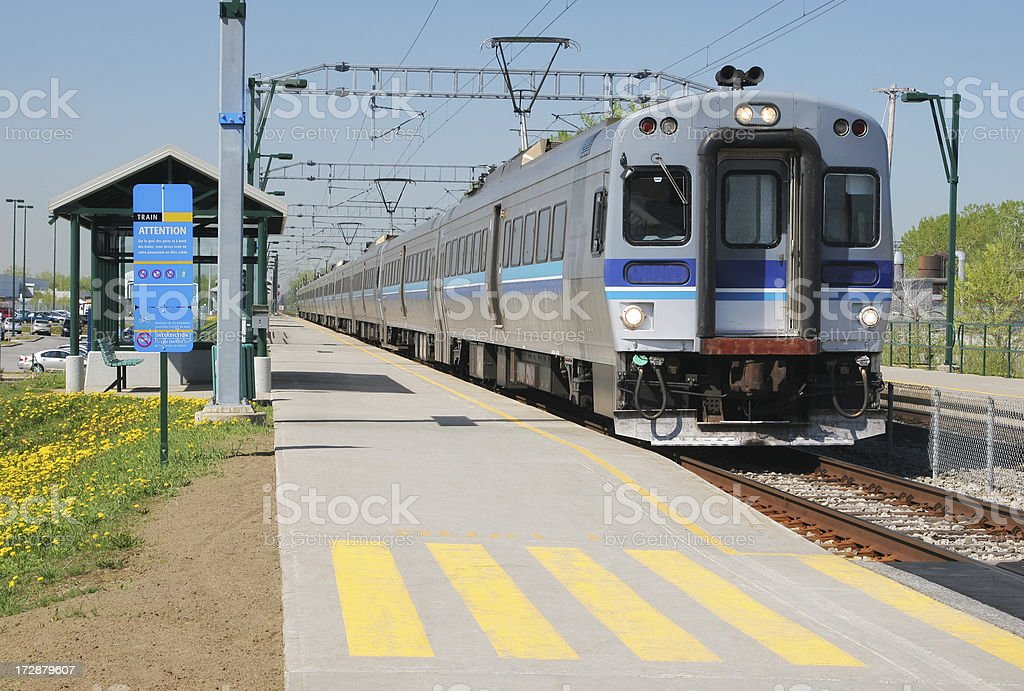 Electric passenger train in Montreal suburban station stock photo