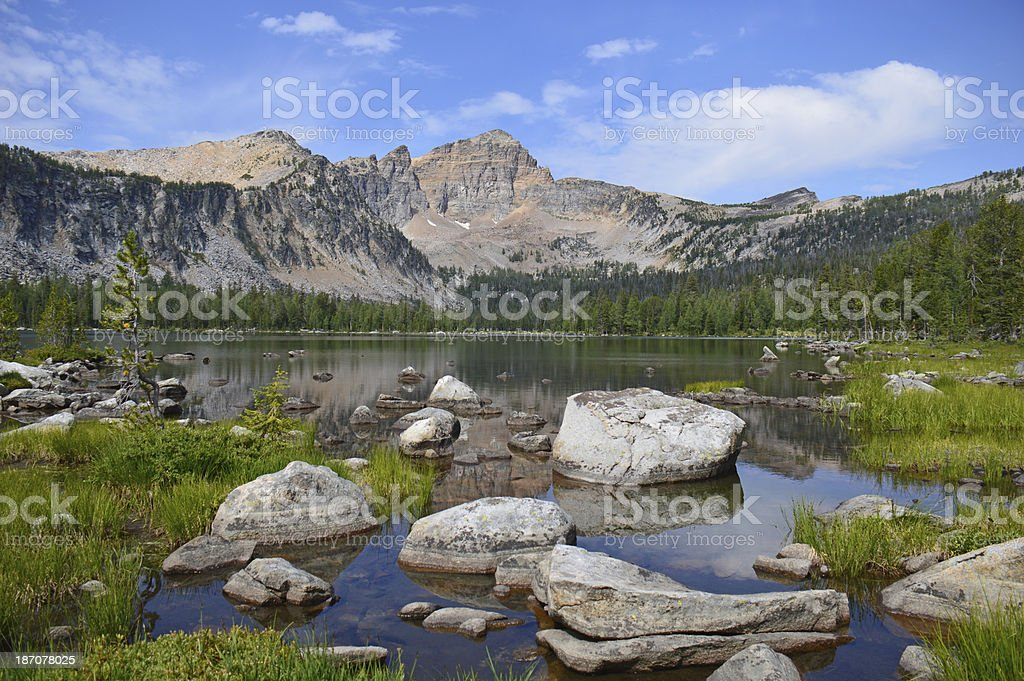 Electric Peak and Warren Lake stock photo