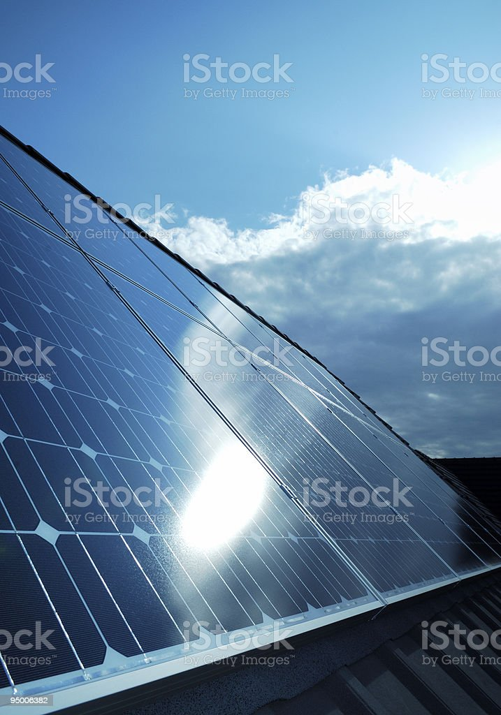 Electric photovoltaic solar panels cells royalty-free stock photo
