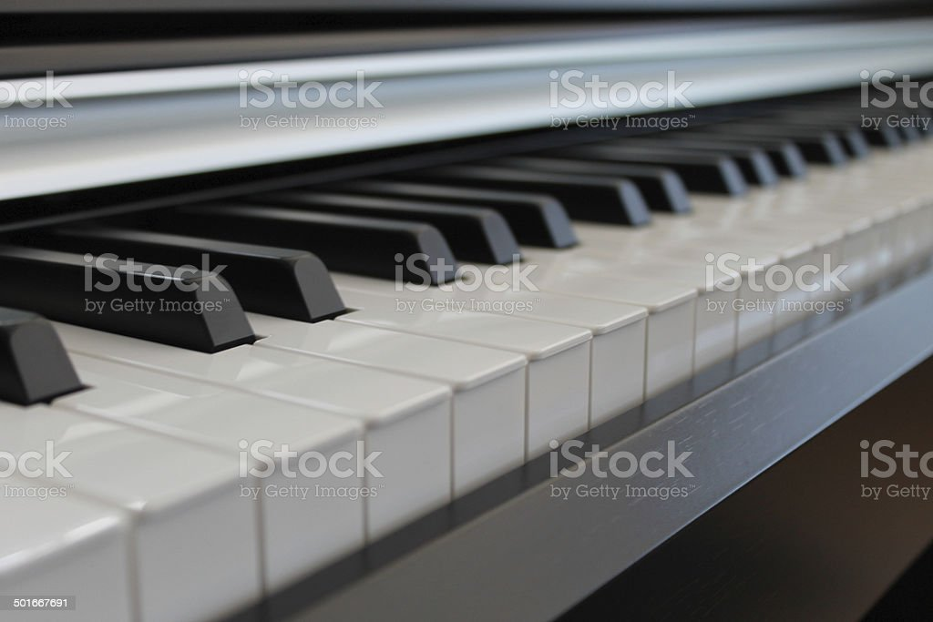 Electric Piano Keys Black & White stock photo