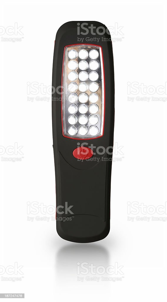 Electric Pocket Flashlight on White Byckground royalty-free stock photo