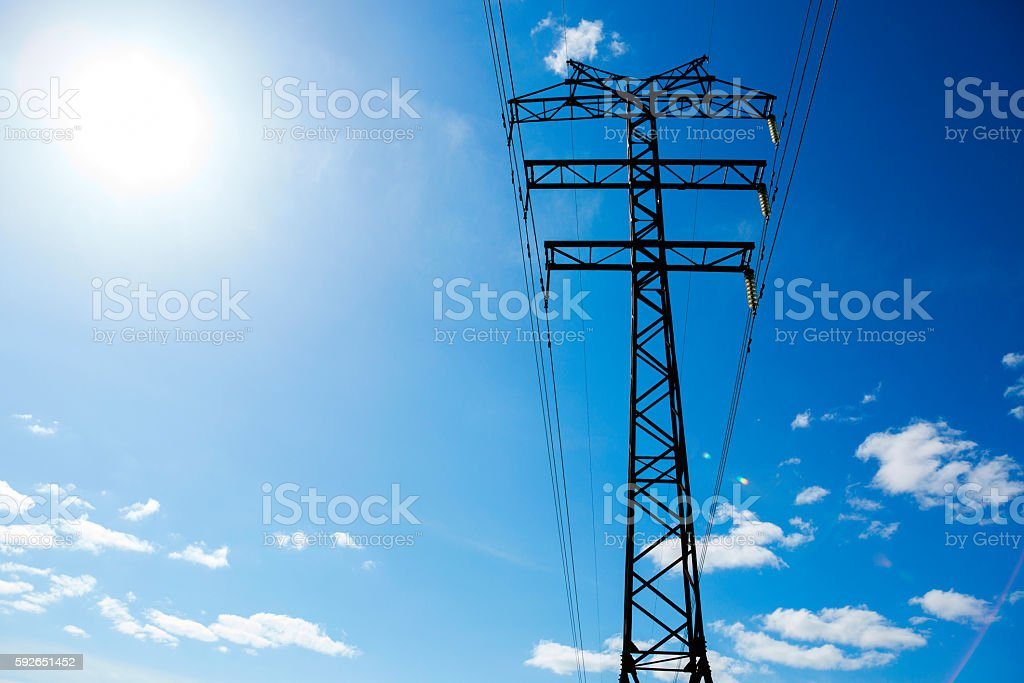 electric pole cable stock photo