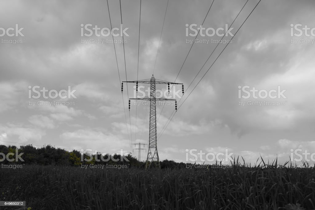 Electric pole In nature stock photo