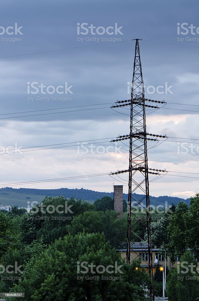 electric pole in night royalty-free stock photo