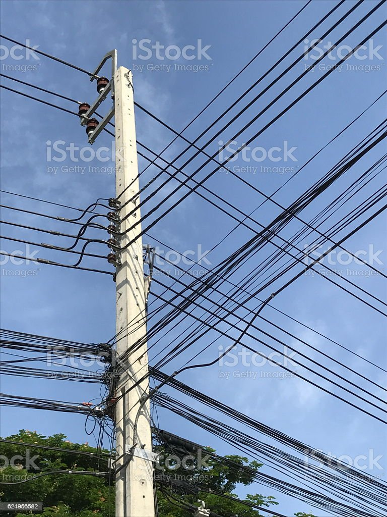 Electric pole on the street stock photo