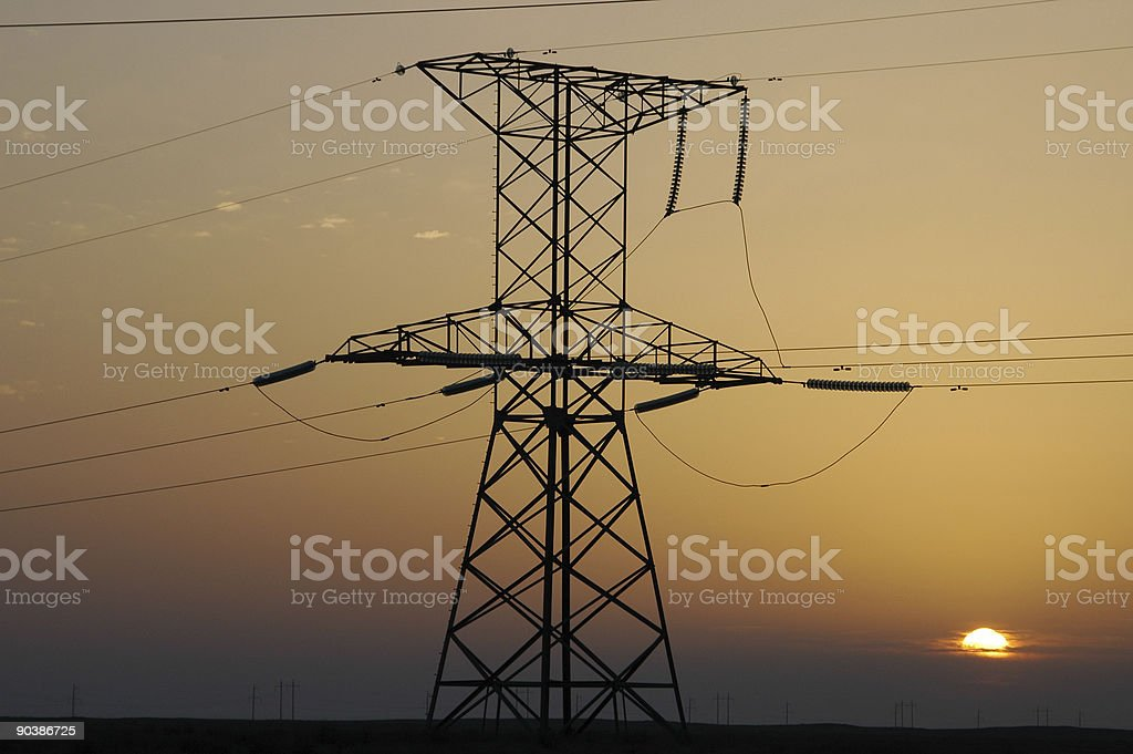 Electric pole silhouette royalty-free stock photo