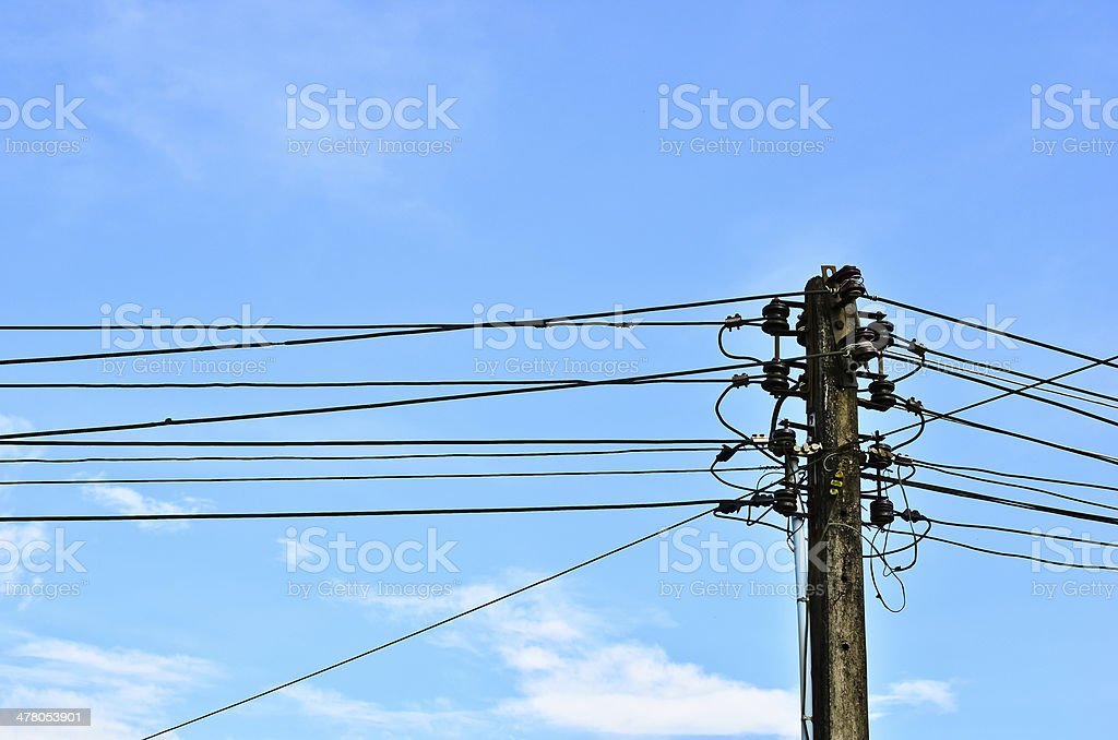 Electric pole with blue sky royalty-free stock photo