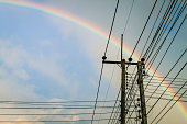 Electric pole with Rainbow and blue sky