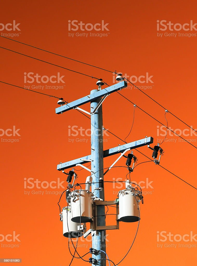 Electric pole with transformer stock photo