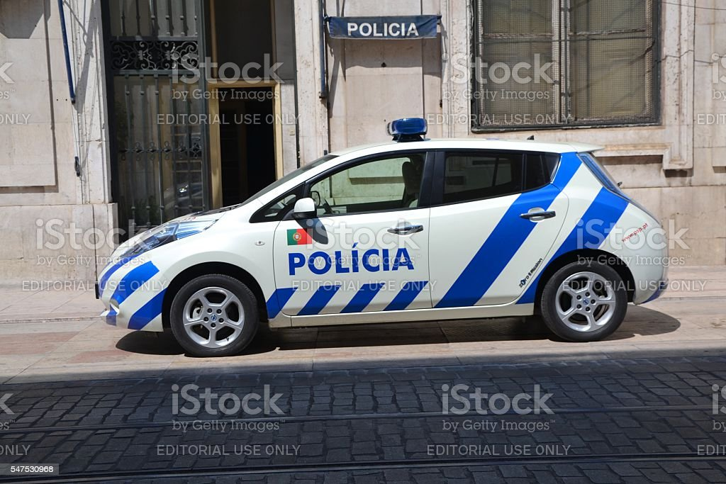 Electric police car on the street stock photo