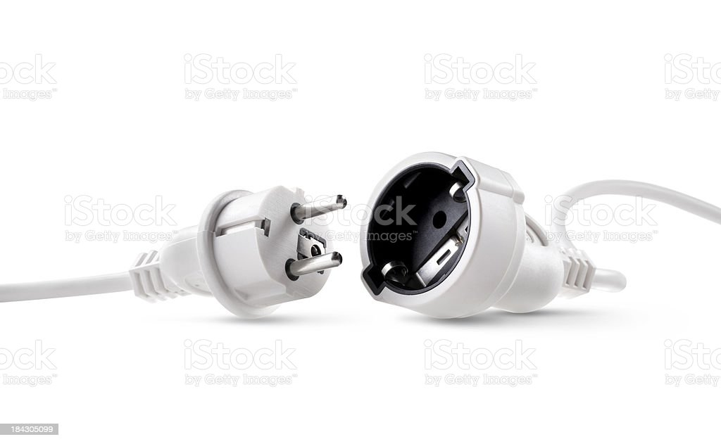 Electric power cable with plug and socket unplugged stock photo