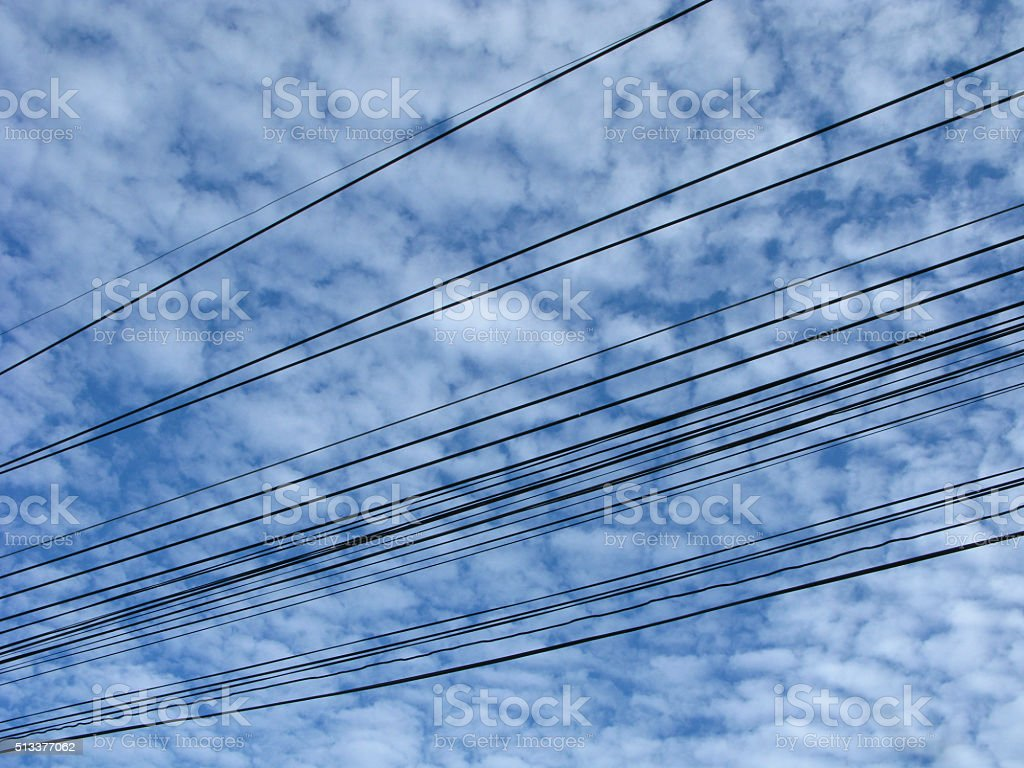 Electric power cables stock photo