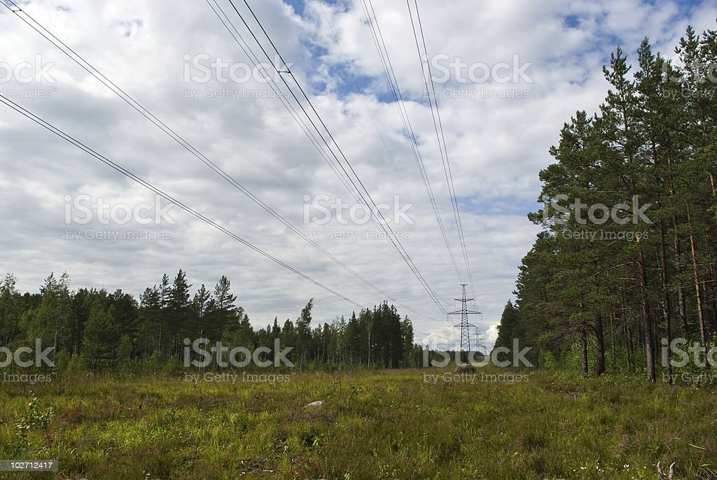 Electric power line stock photo