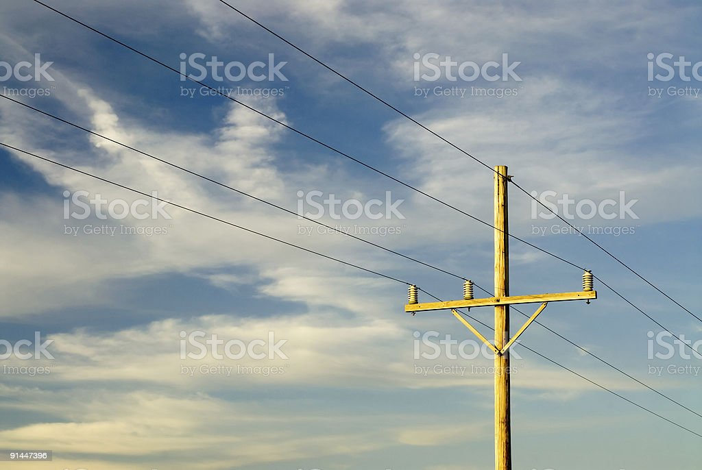 Electric power lines in the countryside royalty-free stock photo