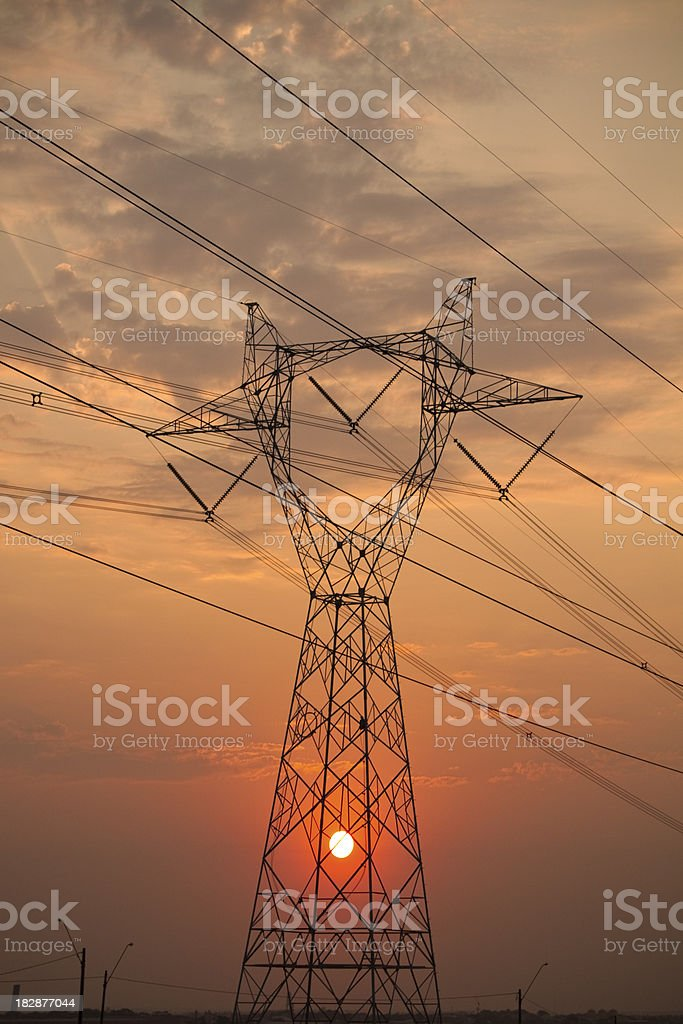 Electric power lines stock photo