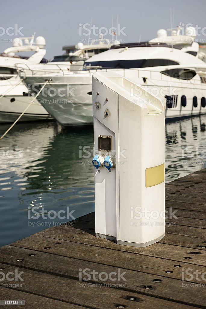 Electric power pedestal for yatchs royalty-free stock photo