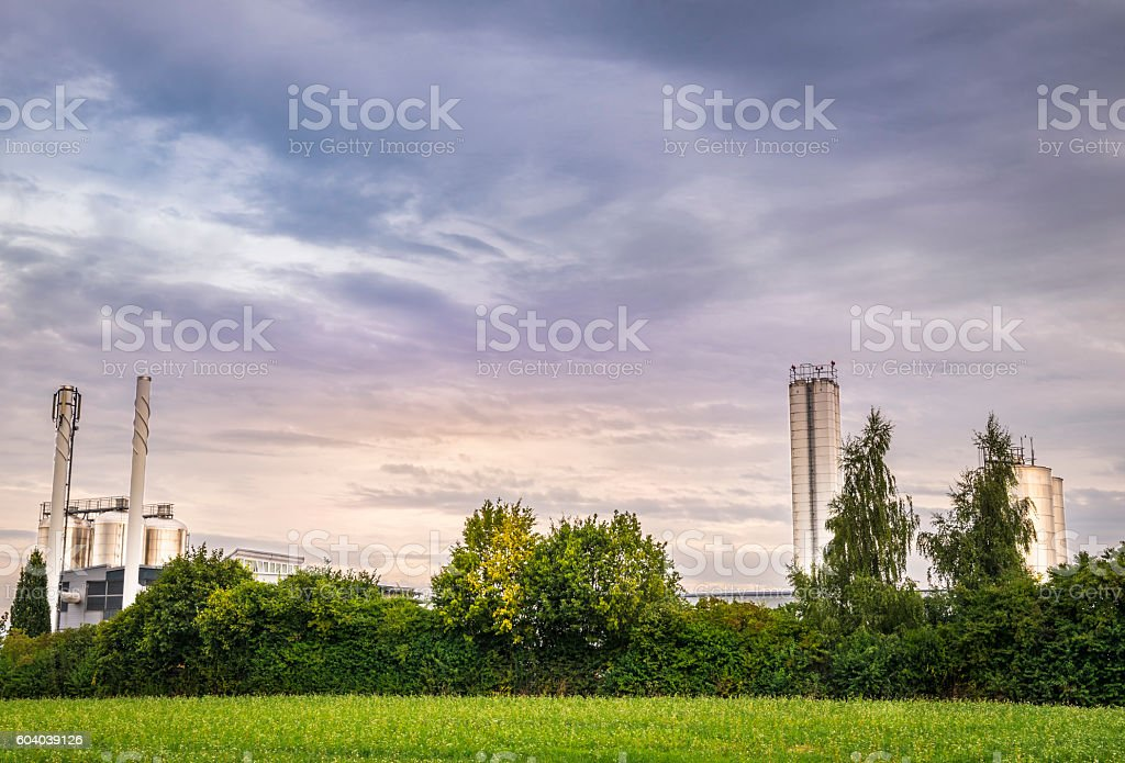 Electric power plant surrounded by nature stock photo