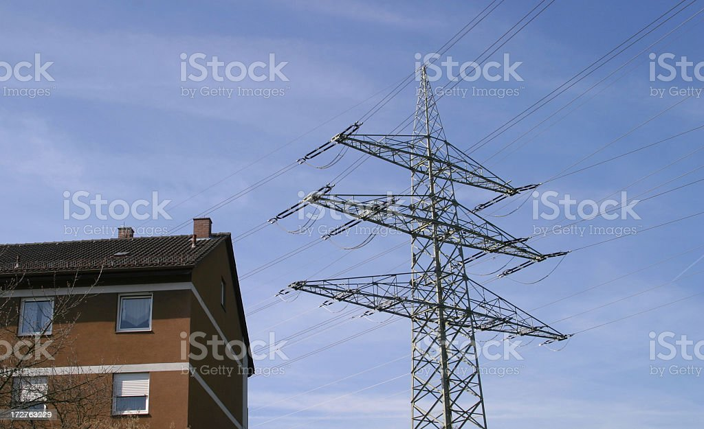 electric power pole - electromagnetical pollution royalty-free stock photo