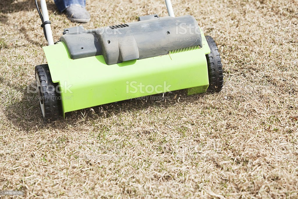 Electric Power Rake Dethatching Spring Yard Grass stock photo