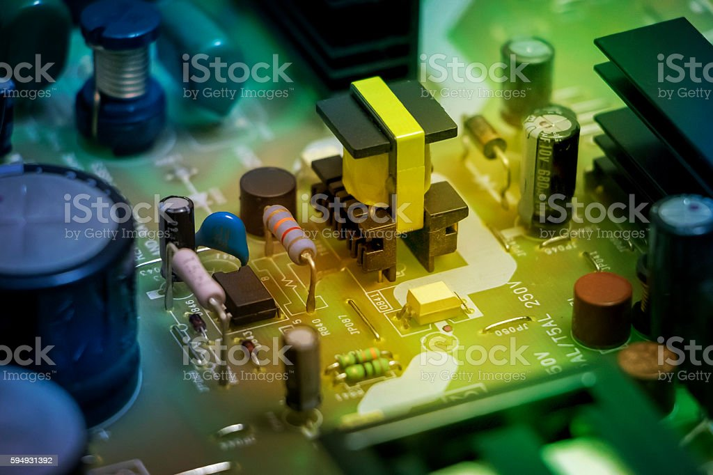 electric power source circuit board stock photo