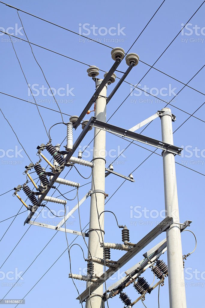 electric power supply pole royalty-free stock photo