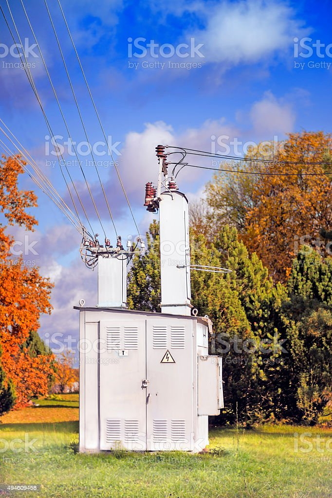 Electric power transformer stock photo