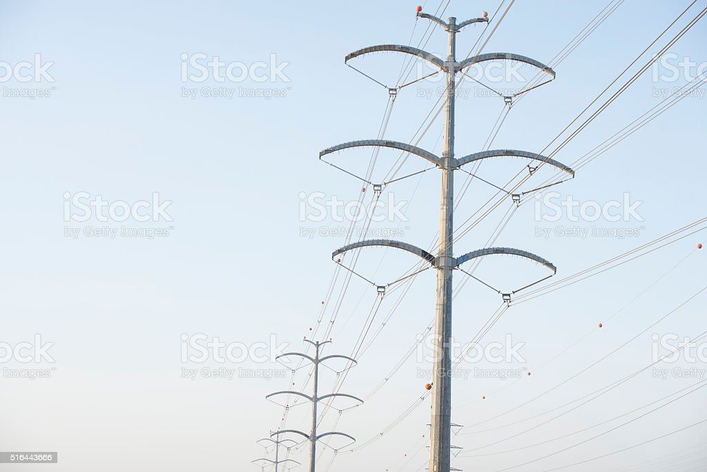 Electric power transmission line. stock photo