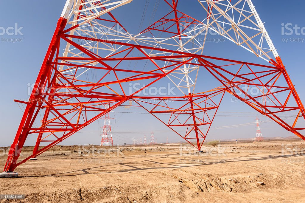 Electric powerline in Oman stock photo