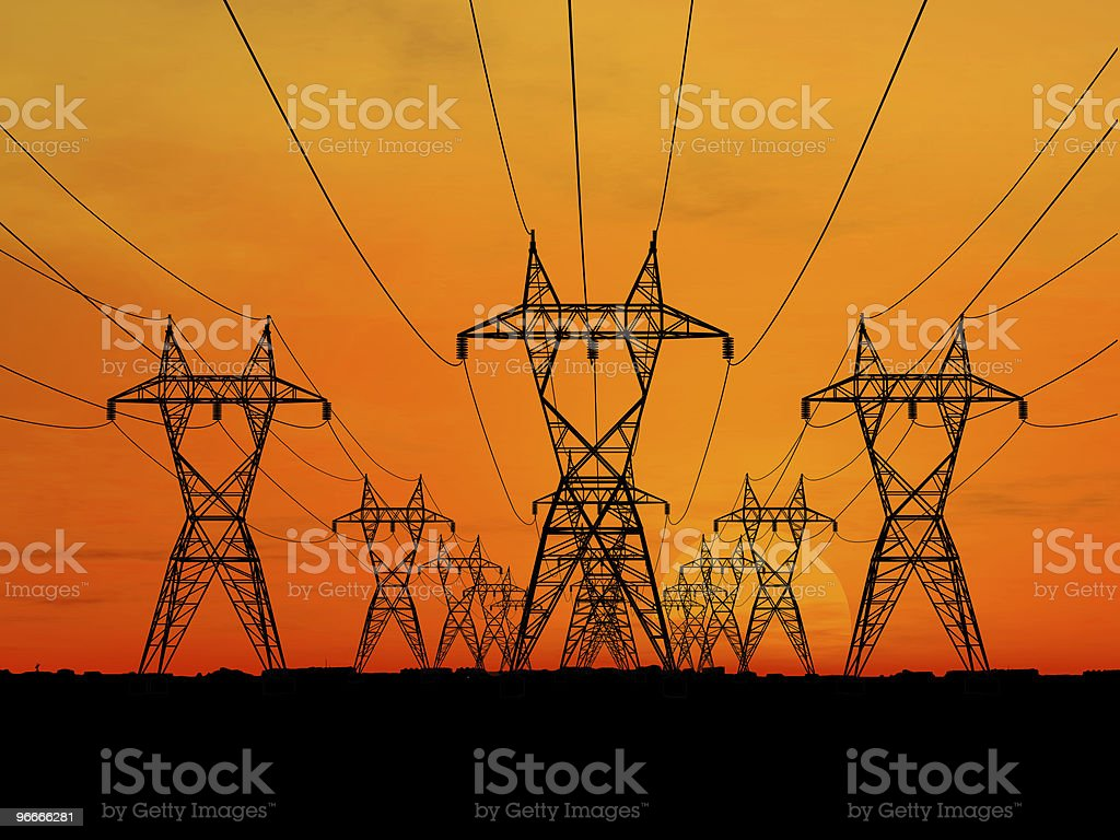 3D electric powerlines against orange sunrise royalty-free stock photo