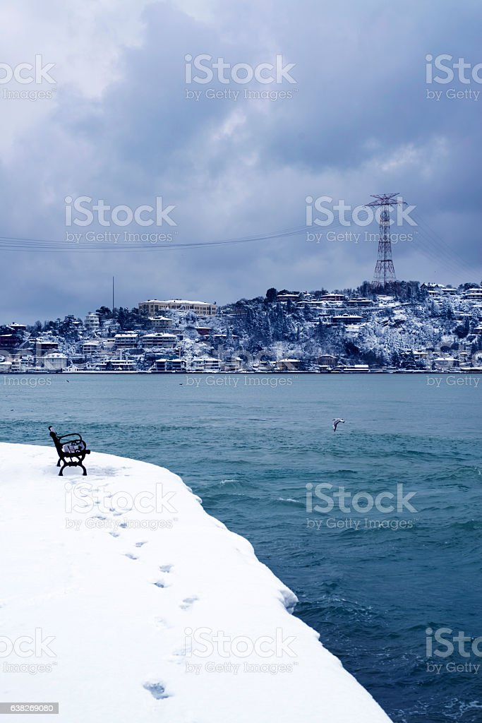 Electric Pylon in Istanbul city stock photo