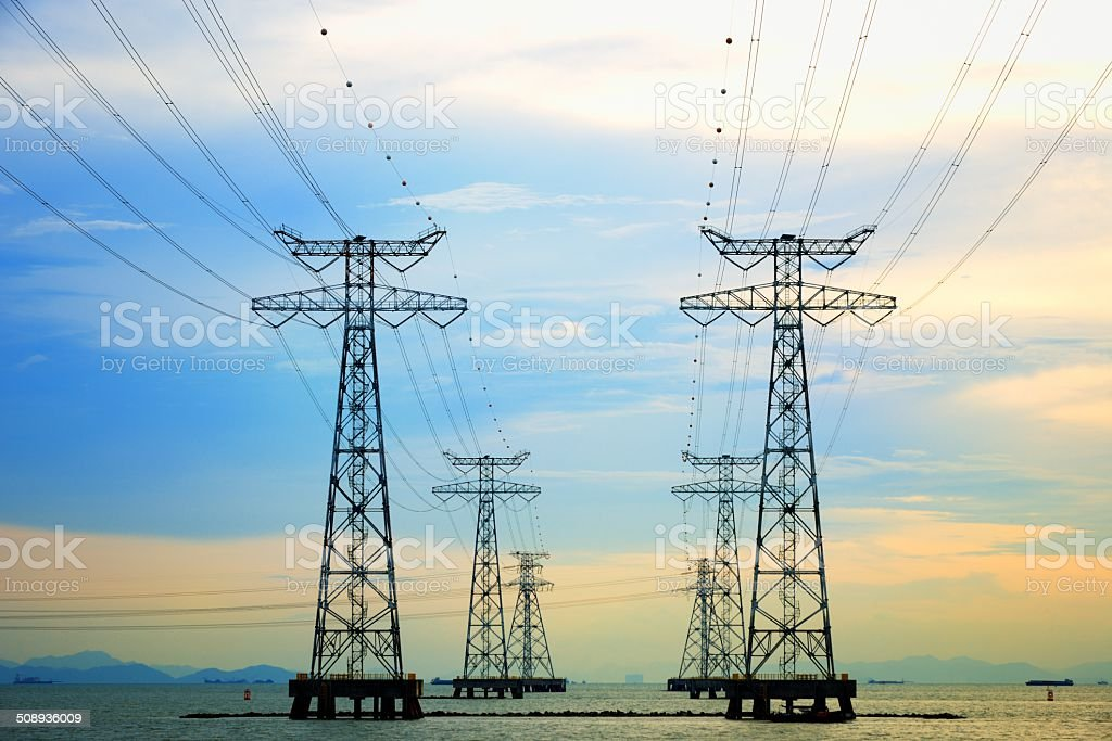 Electric Pylon in Sunset stock photo