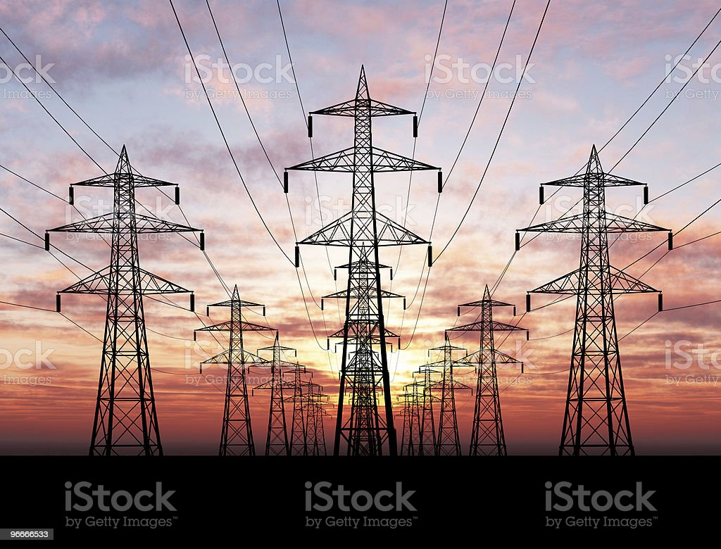 Electric Pylons stock photo